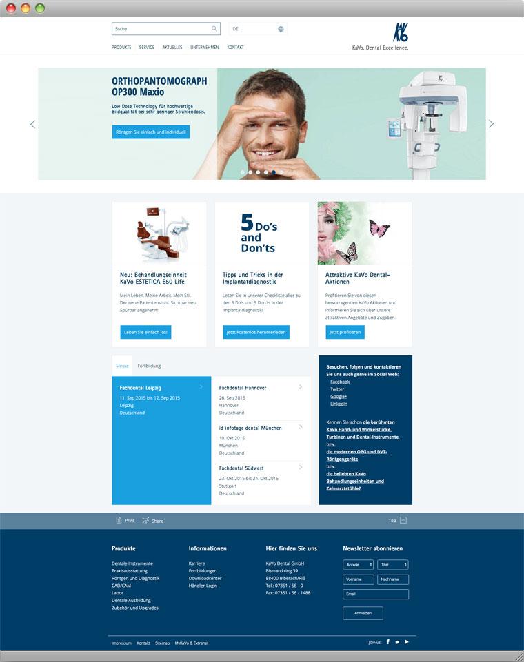 Screenshot Startseite der KaVo Dental GmbH