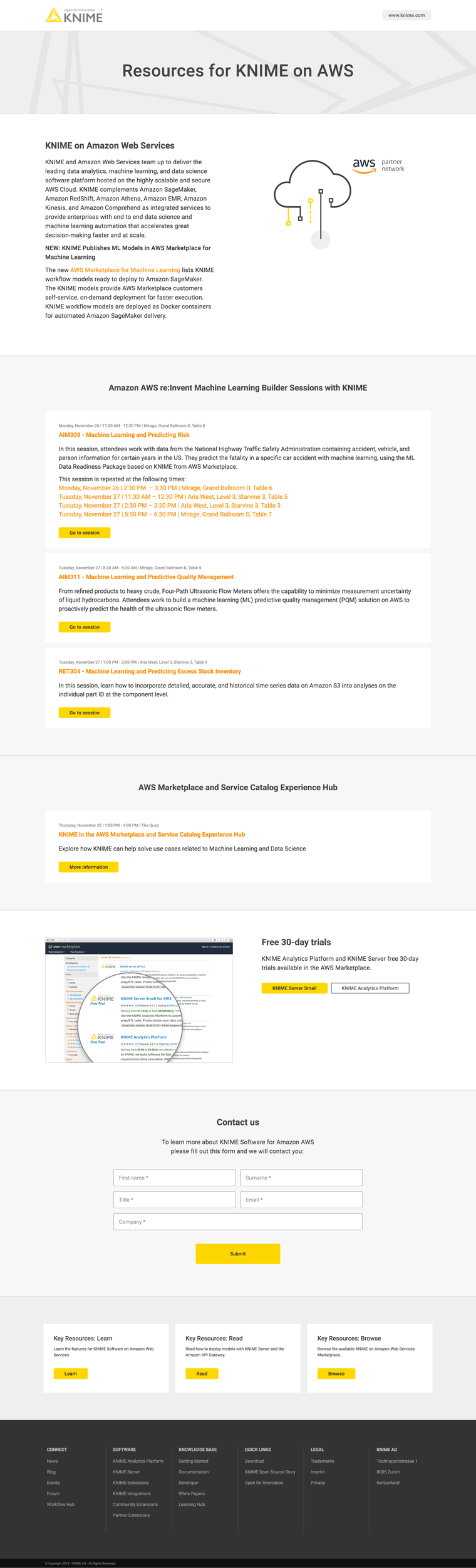 KNIME on Amazon Web Services Landing Page