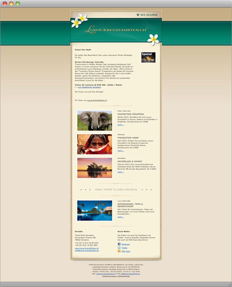 Screenshot Html Newsletter mit Kreuzfahrt Reiseangeboten