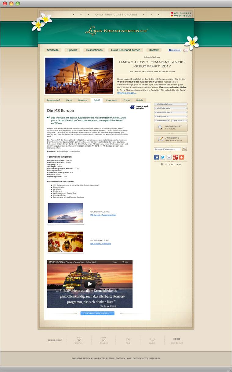 Screenshot Schiffsbeschreibung von Luxus-Kreuzfahrten.ch