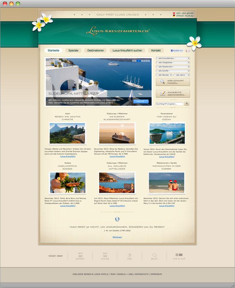 Screenshot Startseite von Luxus-Kreuzfahrten.ch