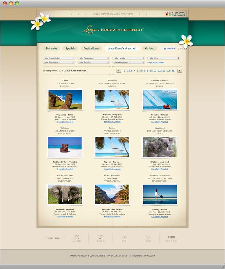Screenshot Reisesuche von Luxus-Kreuzfahrten.ch