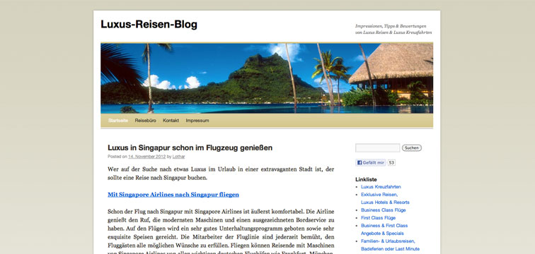 Screenshot Luxusreisen Blog