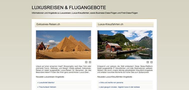 Screenshot Luxusreisen.ch Portalseite