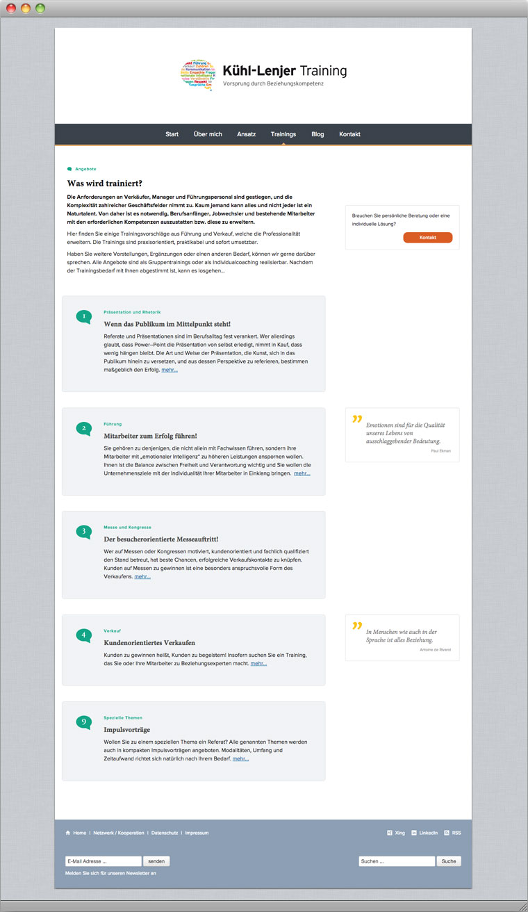 Screenshot Menüpunkt Trainings Kühl-Lenjer Training