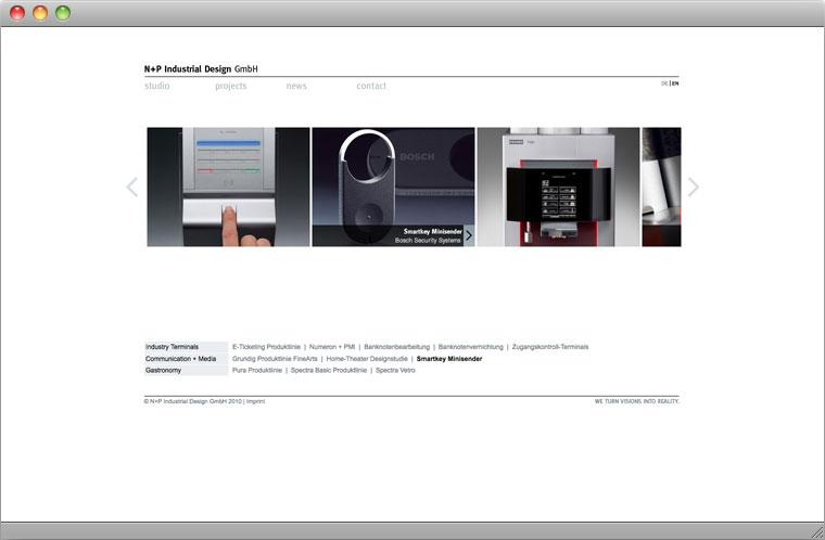 Screenshot Webpage N+P Industrial Design GmbH München