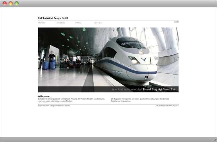 Screenshot Startseite N+P Industrial Design GmbH München