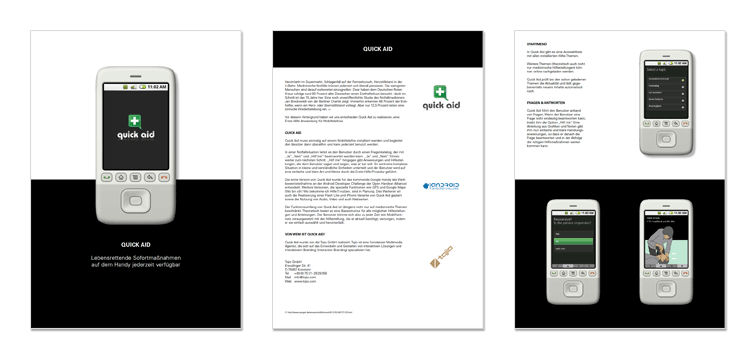 3 Din A4 Seiten aus der Quick Aid Projekt Beschreibung
