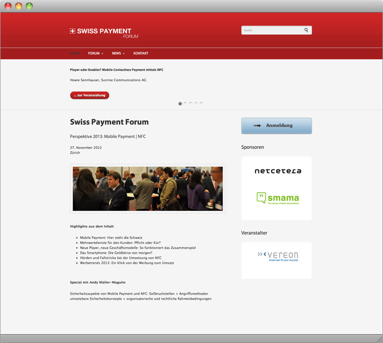 Screenshot Drupal Website Swiss Payment Forum