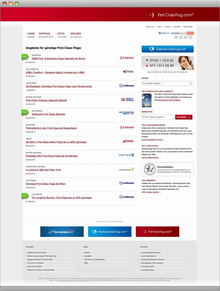 Screenshot Startseite von FirstClassFlug.com mit Angeboten und Sidebar