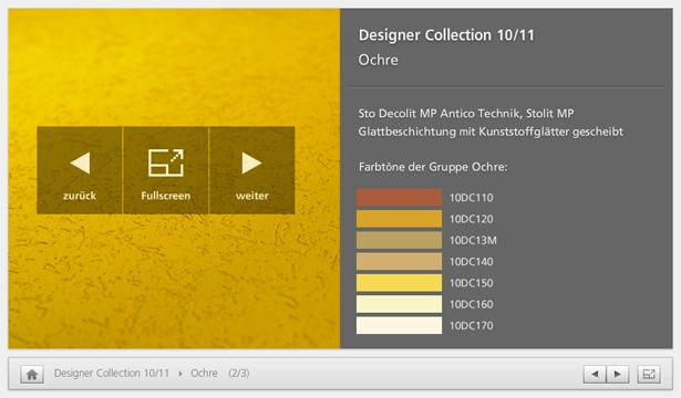 Screenshot Interface Sto Designer Collection Viewer