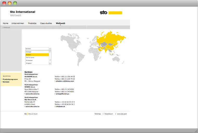 Screenshot Sto AG Corporate International Website Interactive World Map