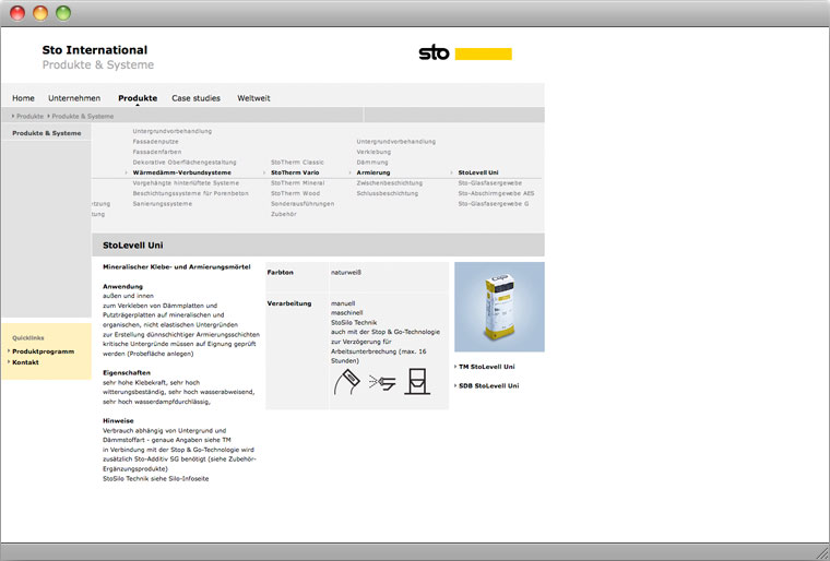 Screenshot Sto AG Corporate International Website