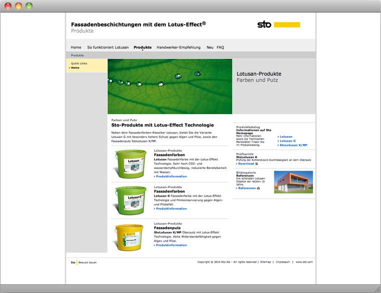 Screenshot Produktseite Lotusan Microsite Sto AG