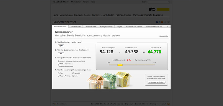 Screenshot Sto Website mit Flash Web App Bauherrenberater