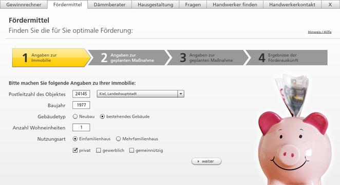 Screenshot Sto AG Web App Bauherren-Ratgeber: Die Fördermittelauskunft - Ein Service von Sto für Bauherren. Fördermittel von Bund, Ländern und Gemeinden werden passend abgefragt und als individuelles PDF im Corporate Design der Sto AG zur Verfügung gestellt.