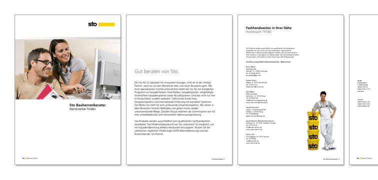 individuell generiertes PDF mit den Ergebnissen der Handwerkersuche nach PLZ im Corporate Design der Sto AG