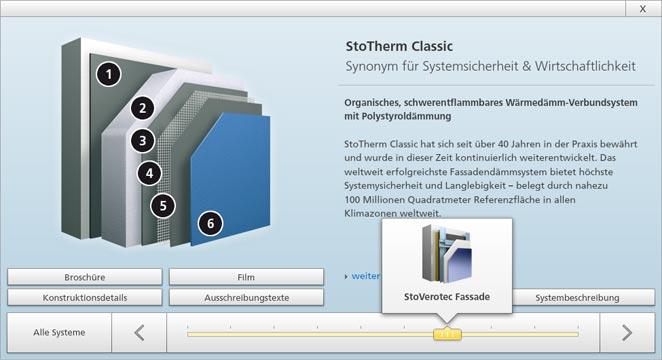 Sto Web App zeigt den Aufbau von StoTherm Classic