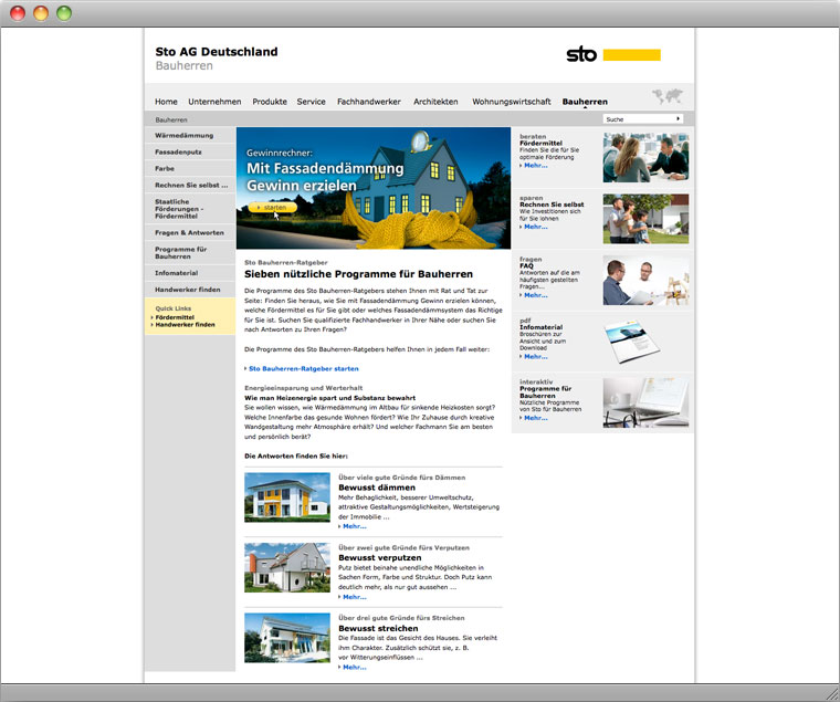 Screenshot Sto AG Bauherren Bereich
