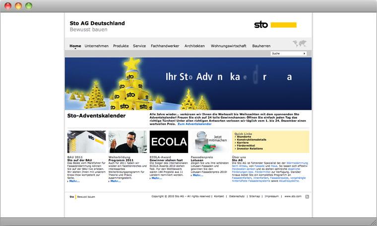 Screenshot Sto AG Startseite