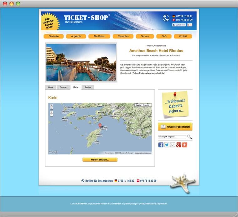 Reise Angebot mit Google Maps und Hotelbild