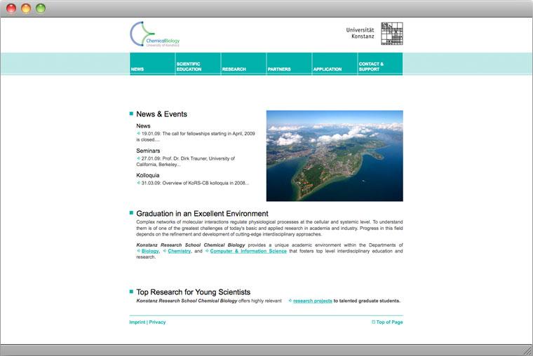 Screenshot Website der Graduiertenschule Chemische Biologie