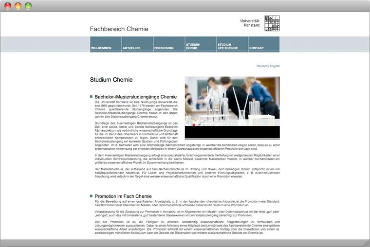 Screenshot Fachbereich Chemie