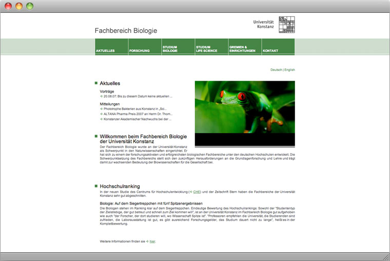 Screenshot Fachbereich Biologie