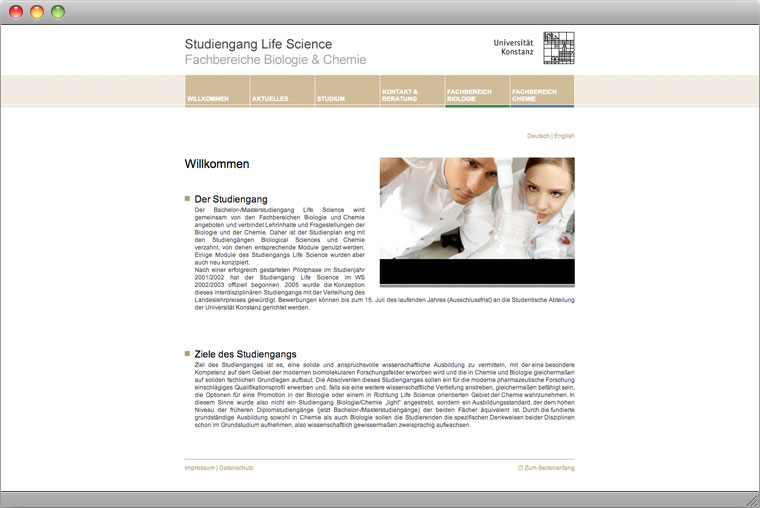 Screenshot Website Studiengang Life Science