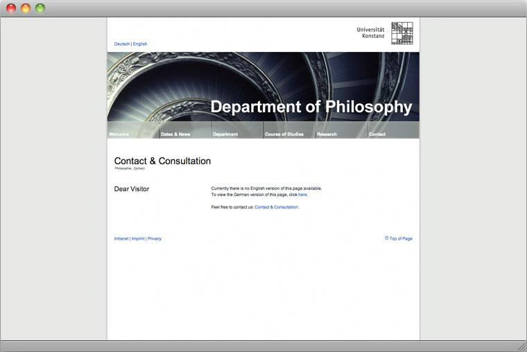 Screenshot Website Fachbereich Philosophie in Englisch