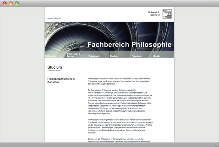 Screenshot Website Fachbereich Philosophie