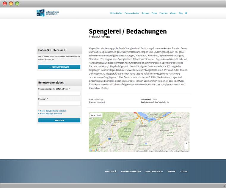 Screenshot eines Verkaufsangebots auf Unternehmens-Vermittler.ch
