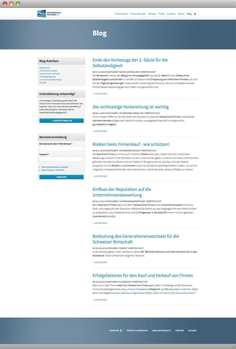 Screenshot des Blogs von Unternehmens-Vermittler.ch