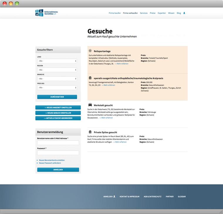 Screenshot der Kaufgesuche auf Unternehmens-Vermittler.ch