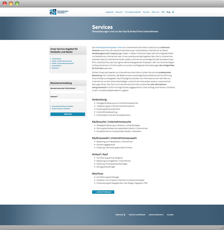 Screenshot der angebotenen Services von Unternehmens-Vermittler.ch