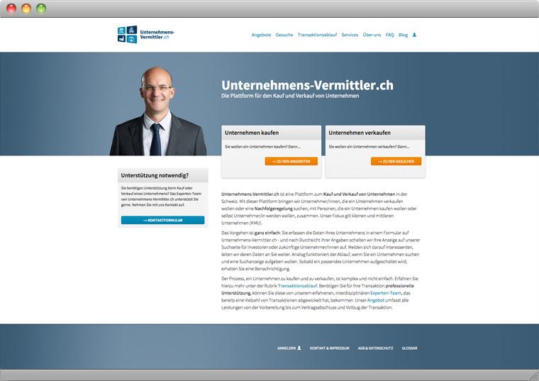 Screenshot der Startseite von Unternehmen-Vermittler.ch