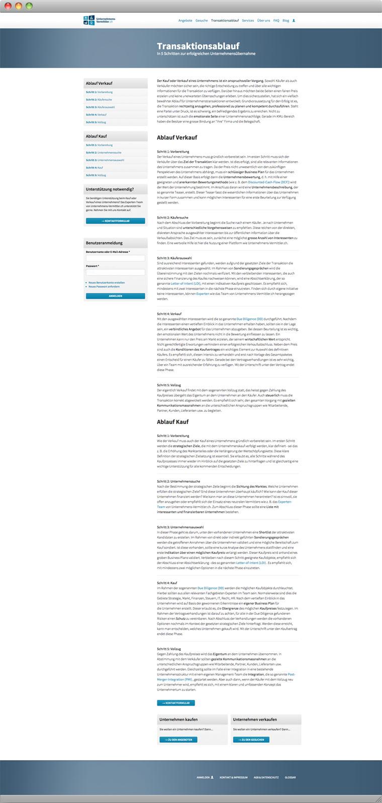 Screenshot der Erklärung des Transaktionsablaufs von Unternehmens-Vermittler.ch