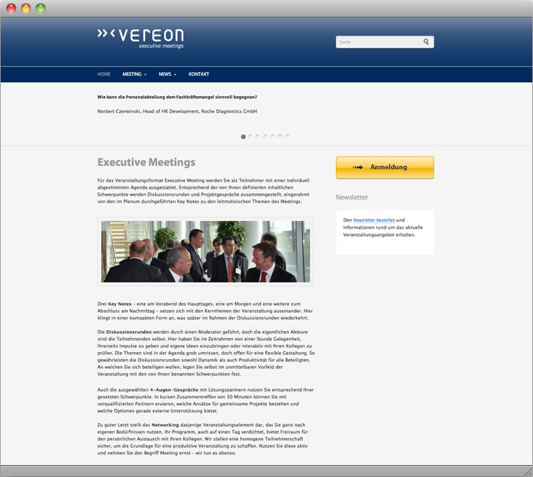 Screenshot Drupal Website Vereon Executive Meetings