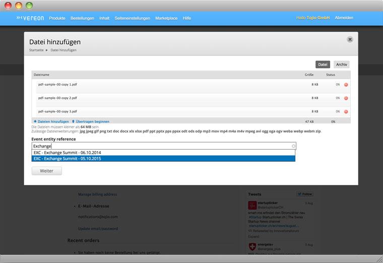 Screenshot Drupal Backend der Verwaltung von Dateien