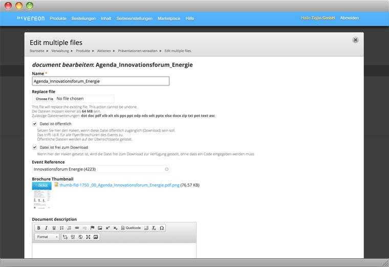 Screenshot Drupal Backend der Bearbeitung von Dokumenten