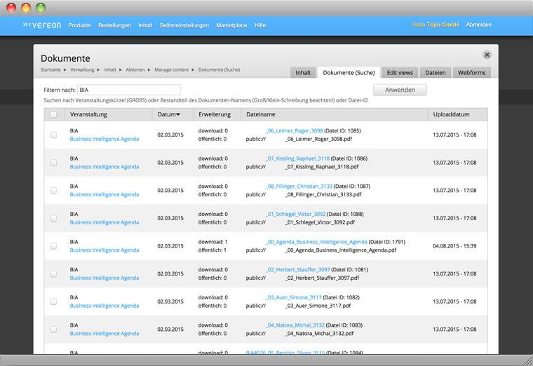 Screenshot Drupal Backend der Verwaltung von Dokumenten