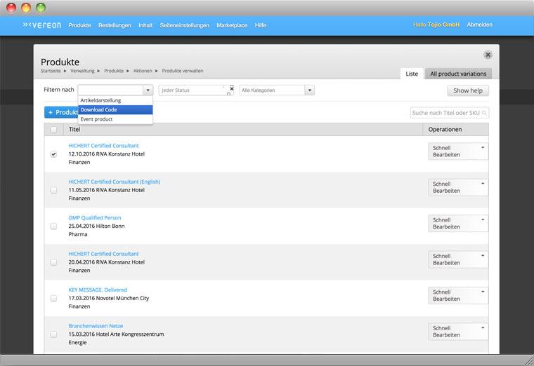 Screenshot Drupal Backend der Verwaltung von Produkten