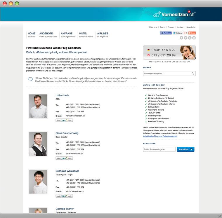 Screenshot Teamseite Vornesitzen.ch