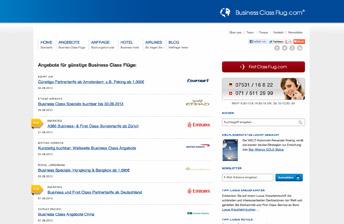 Screenshot Business Class Flug