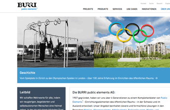 Screenshot Über uns Webpage der BURRI public elements AG
