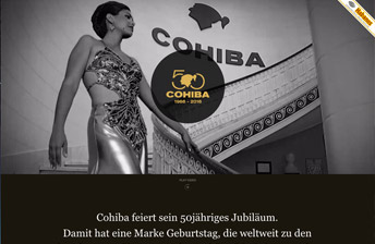 Screenshot Cohiba Jubiläums Landing Page