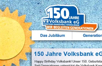 Screenshot Website Menü Volksbank Konstanz