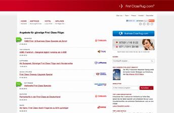 Screenshot Startseite FirstClassFlug.com
