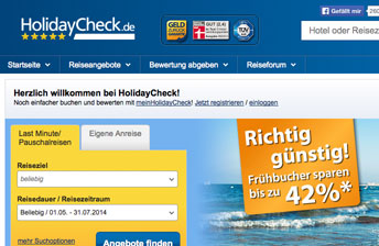 Screenshot HolidayCheck Startseite
