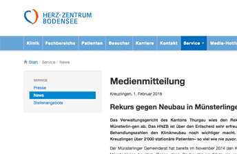 Ausschnitt eines Screenshots zur Website des Herz Zentrums Bodensee